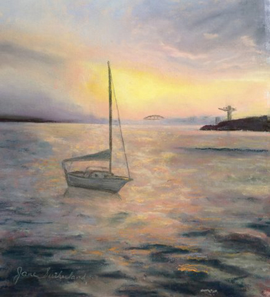 Portsmouth Harbor Sunset painting